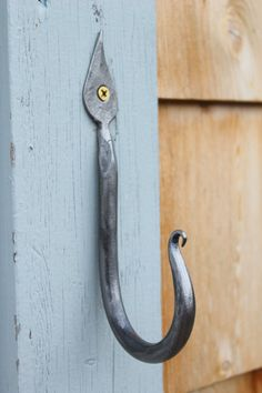Forged Steel Hook Fancy Blacksmithed Metal Hook by HonestSteel