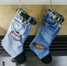Blue jean Christmas stockings | craft ideas | Pinterest