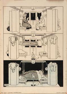 Heath Robinson - Sleeping compartment Anita Jeram, Rube Goldberg, Heath Robinson, Art Deco Posters, Prop Design, Monochrome, Book Art, The Past, Cartoon