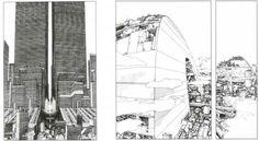 """Manga Mania. A sinistra: Neo-Tokyo in Akira di Katsuiro Otomo (1982-1990). Prima pagina dell'episodio 45 (Young Magazine, 19 novembre 1984). A destra: dettaglio di uno degli Olimpo il cosiddetto """"Arcologies"""" in Appleseed (Masamune Shirow, 1985 – 1989)"""