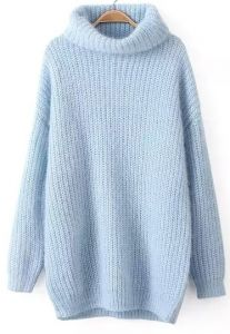 shop blue high neck long sleeve knit sweater online abaday offers blue high neck long sleeve knit sweater more to fit your fashionable needs free Loose Knit Sweaters, Winter Sweaters, Long Sweaters, Pullover Sweaters, Knitting Sweaters, Blue Sweaters, Sweater Fashion, Sweater Outfits, K Fashion