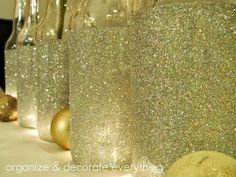 Add glitter to a wine bottle and tie with information card/label info.tape off where you want glitter and use deco. and glitter Cute Crafts, Crafts To Do, Arts And Crafts, Diy Crafts, Crafts Cheap, Wood Crafts, Holiday Crafts, Holiday Fun, Holiday Banner