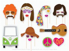 Hippie 60's 70's Party Photo booth Props Set - 20 Piece PRINTABLE - Photo Booth Props on Etsy - Buscar con Google