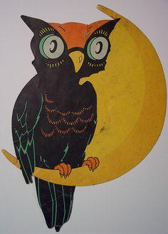 Vintage Halloween Diecut Owl