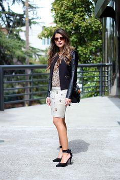 Asos Leopard Print Top, Lulus Ankle Strap Heels, Ann Taylor Skirt