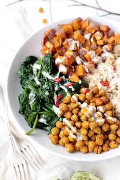 Chickpea, Spinach and Sweet Potato Brown Rice Bowl.