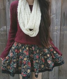 I don't like the scarf, but the shirt and patterned skirt are very cute