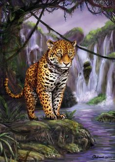 Pencils, acrilics and pastels colored with Corel Painter based on a picture taken by my spouse at the Servion zoo (Lausanne, Switzerlan. Big Cats Art, Cat Art, Wildlife Conservation, Wildlife Art, Beautiful Fantasy Art, Beautiful Cats, Animal Jaguar, Lion Tigre, Corel Painter