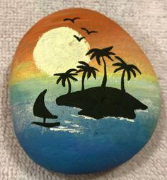 Island sailboat painted rock