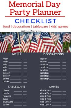 Memorial Day Party Planner Checklist for Food, Decor, Tableware & Games