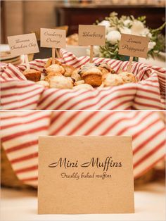 fresh baked mini muffins with diy signs #minimuffins #diy #weddingchicks http://www.weddingchicks.com/2014/03/06/julia-child-inspired-bridal-shower/
