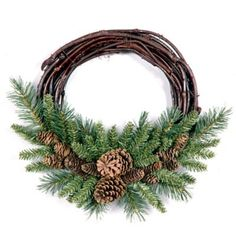 *** You can get more details here: National Tree Pine Cone Grapevine Wreath, at Christmas Decorations. Artificial Christmas Wreaths, Holiday Wreaths, Pine Cone Crafts, Deco Floral, How To Make Wreaths, Grapevine Wreath, Pine Cone Wreath, Grapevine Christmas, Wire Wreath