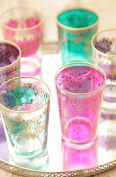 Moroccan tea time, with tea glasses. Lavender Room, Tea Glasses, Shot Glasses, Moroccan Interiors, Deco Boheme, Moroccan Style, Moroccan Decor, Persian Decor, Moroccan Kitchen