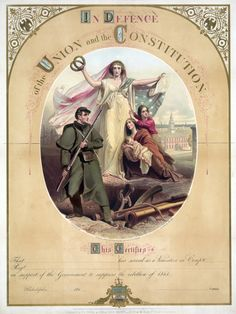 """In Defence of the Union,"" Pennsylvania Volunteer Certificate, circa 1861"