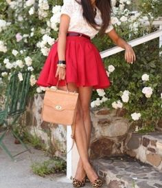 cream lace top / poppy red high waisted skirt / leopard heels. Love the lace with leopard print.