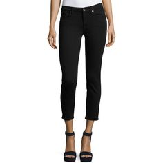 7 For All Mankind Kimmie Cropped Straight-Leg Jeans (540 BRL) ❤ liked on Polyvore featuring jeans, black, slim jeans, slim fit jeans, zipper jeans, button-fly jeans and straight leg jeans