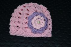 Crochet Baby girls beenie by ESCreations14 on Etsy, $16.00