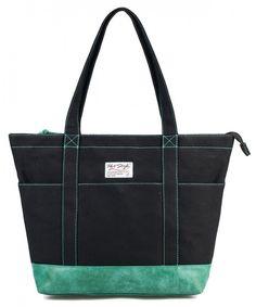 Large Canvas Tote for Work Teachers Nurses - S008d Black Green -  CY11QHUL7KB. roseinbags.com. AMY Womens Large Canvas Tote Bag ... 617e33fd066ed