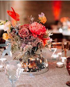 disco + florals = a dream centerpiece. Wedding Trends, Wedding Designs, Wedding Table, Wedding Reception, Dream Wedding, Wedding Day, Wedding Decorations, Table Decorations, Disco Party Decorations