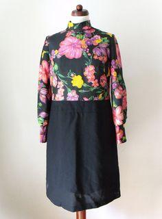 Vintage 1960's Dress Black Poly Dress by PaperdollVintageShop