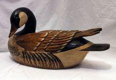 Vintage Tom Taber Goose decoy Signed Large Hand Carved Decoy