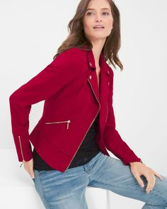 """Giving a nod to the classic biker style, our newest red moto jacket is designed with just the right amount of stretch and all the detail you'd expect. This is one trend you'll be wearing from one season to the next.   Moto jacket in luscious red Silvertone asymmetrical zip-front Notch collar Zip cuffs Zip pockets Lightly padded shoulders Polyester/rayon/spandex. Machine wash cold. Regular: approx. 22"""" from shoulder Petite: approx. 21"""" from shoulder  Imported"""