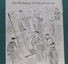 Fall Fashion Print 1935 Vintage Womens Clothing Pattern Illustration Fall Wardrobe Paper Ephemera Couture Ad Lg format Magazine Advertisement $8.00