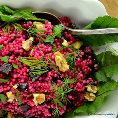 Rose Colored Couscous, or Israeli Couscous with Beets and Walnuts is a uniquely beautiful and healthy pasta salad!