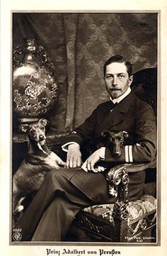 Prince Adalbert of Prussia. In my opinion, the sexiest of Kaiser Wilhelm's sons haha! German Royal Family, Time Pictures, Second Empire, Princess Victoria, Queen Victoria, Prince And Princess, Princess Diana, Vintage Dog, Dog Photography