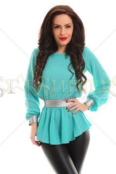 Bluza LaDonna First Concept Mint. Bluza LaDonna, eleganta si glamuroasa, cu un croi larg, dintr-un material usor transparent si vaporos. La maneci si in talie este aplicat un elastic lat de culoare aurie, tocmai pentru a da un plus de eleganta acestei bluze.