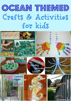 Mom to 2 Posh Lil Divas: Ocean Themed Crafts and Activities for Kids - The Sunday Showcase Ocean Activities, Preschool Themes, Craft Activities For Kids, Preschool Activities, Crafts For Kids, Preschool Family, Summer Activities, Ocean Theme Crafts, Ocean Themes