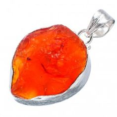 925 SOLID STERLING FINE SILVER ROUGH CAMELIAN  PENDANT