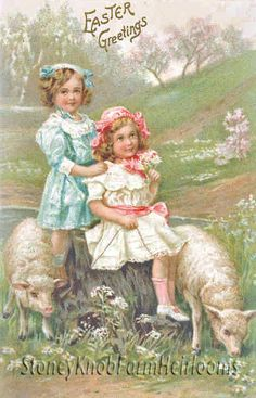 Sisters & Little Lambs ~ Vintage Easter ~ Cross Stitch Pattern #StoneyKnobFarmHeirlooms #Frame