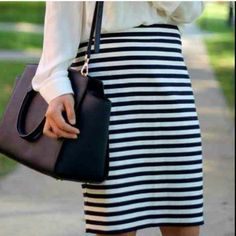 """NEW Ann Taylor Striped Pencil Skirt Approx. 22"""" long. Gorgeous.  this is a reposh, bc its too small for me unfortunately. I took off the tags, but never wore this so its BNWOT!!!!! True to size. Awesome material! Ann Taylor Skirts Pencil"""