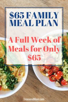 Use this cheap family meal plan for those weeks you just don't have much money. Included in this printable download are cheap recipes, shopping list, meal plan, and tips for the week. Only $65 in groceries. A great frugal meal plan for busy weeks, too. Breakfast, lunch and dinner. #kidfriendly #grocerylists #mealplanningonabudget #foodrecipes #cheapdinnerideas #budget #mealplan #frugal via @treasuredmom