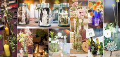 Centros de mesa de frascos de vidrioMe gustan las botellas con flores!