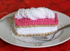 Sietske's Hobby's:, #haken, gratis patroon, Nederlands, gebakjes, tompouche, feest, verjaardag, eten, voedsel, amigurumi