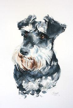 Items similar to Retrato de perro, acuarela original, retrato de encargo, pintura de Schnauzer, hecho a mano, único, presente, regalo. on Etsy