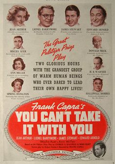 1938 Movie Ad ~ You Can't Take It With You ~ Frank Capra.  My  favorite holiday movie. Annual must-see.