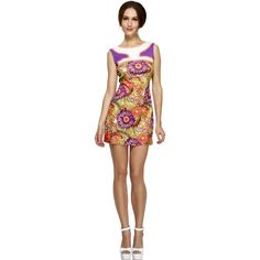 Fever1960s Peace Love Costume, Psychedelic, Dress with Cut Out CND Back
