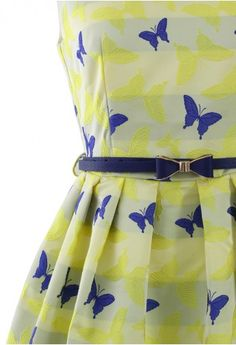 Darling butterfly print skater dress with bow belt http://rstyle.me/n/nfibznyg6