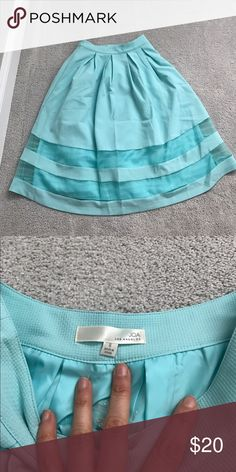 Joa skirt small mint green blue Joa skirt size small in a beautiful mint blue green color! I would wear it high waisted with a crop too! I don't think I ever wore this. See through like panels on skirt. joa Skirts Midi