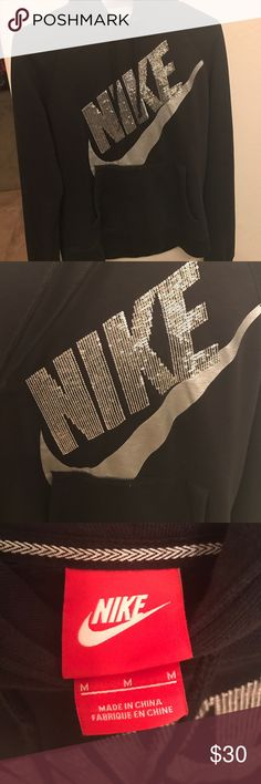 Nike Hoodie Good condition black Nike hoodie with silver sequined lettering! Nike Jackets & Coats