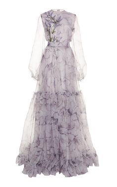 This Costarellos tiered printed silk organza gown features a crew neckline with sheer blouson sleeves. Modest Dresses, Pretty Dresses, Casual Dresses, Set Fashion, Fashion Dresses, Fashion Tips, Kpop Outfits, Dress To Impress, Beautiful Outfits