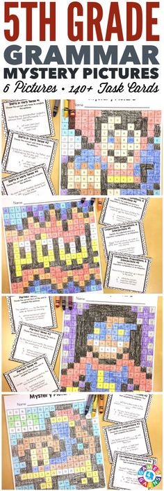 These SUPER FUN 5th grade grammar mystery pictures are perfect for practicing key 5th grade Common Core language standards! This set includes 6 different pictures and over 140 task cards covering conjunctions, prepositions, interjections, verb tenses, correlative conjunctions, commas, and titles!