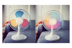 Have to do this in the Art room! So...I tried this.  It did not work so good for me but I think that is because my fan speed was too fast.  If your fan has a very low speed I think it will work.-Ashley