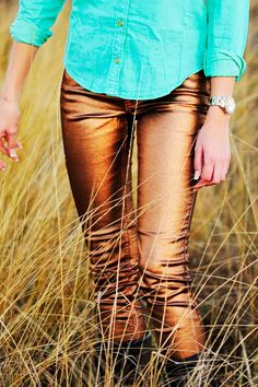 Love To Love Shimmer Jeans: Bronze