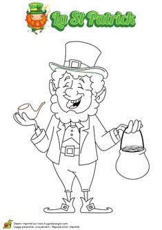 Dessin à colorier de Monsieur Lepreuchaun avec son pot et sa pipe