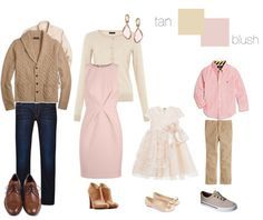 What to wear for fall family photos: #blush and #tan. #polyvore repinned by BorisyukPhotography.com