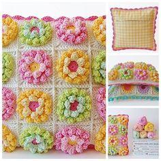 blooming garden pillow free crochet pattern